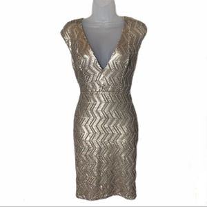 Abyss by Abby Sleeveless V-Neck Gold Sequin Dress